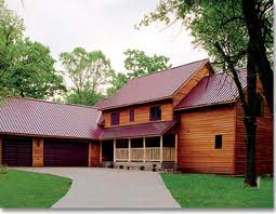 Burgundy Metal Roof over Cedar Clapboards