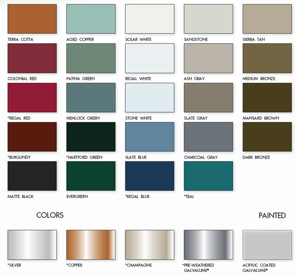 Metal Roof Color Chart from Armor Metal Roofing